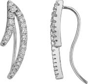 Sterling Silver V Shaped Cubic Zirconia Cilmber Dropper Earrings Me02189a