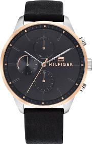 Chase Rose Gold Plated Two Tone Black Leather Strap Watch 1791488
