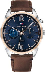 Deacan Rose Gold Plated Two Tone Blue Dial Brown Leather Strap Watch 1791549