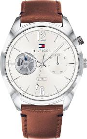 Deacan Silver Dial Brown Leather Strap Watch 1791550