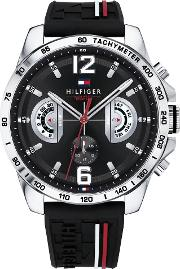 Decker Stainless Steel Chronograph Dial Black Rubber Strap Watch 1791473