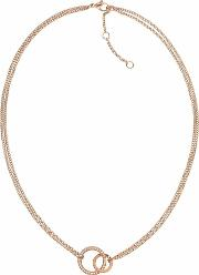 Rose Gold Plated Double Crystal Open Circle Necklace 2780078