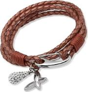 Stainless Steel 19cm Copper Leather Butterfly And Ball Bracelet B158co-19cm