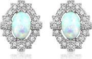 Silver Empire Synthetic Opal And Cubic Zirconia Earrings 3015