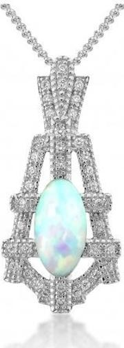 Silver Empire Synthetic Opal And Cubic Zirconia Pendant 3014