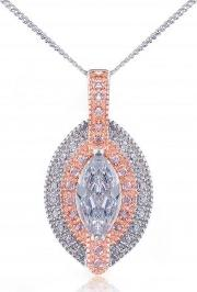 Silver Rose Gold Plated Rose Marquise Cz Pendant 3050