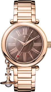 Ladies Mother Orb Rose Gold Plated Bronze Dial Bracelet Watch Vv006pbrrs