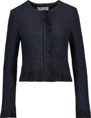 Cropped Fringed Cotton Blend Tweed Jacket Midnight Blue