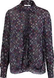 Wrap Effect Printed Silk Crepe Top Midnight Blue