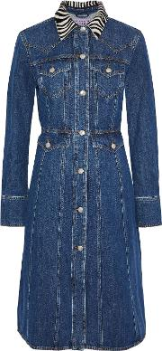 calf hair trimmed denim dress