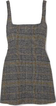 cutout checked woven mini dress