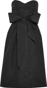 strapless bow embellished taffeta dress
