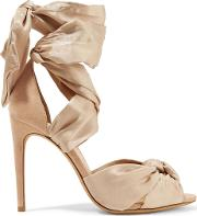 katherine knotted silk satin and suede sandals
