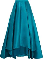 Mikado Pleated Crepe De Chine Maxi Skirt Teal