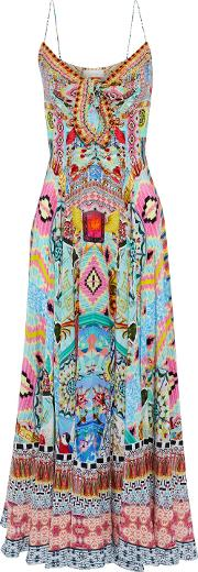 heartbeats drumbeats tie front printed silk maxi dress