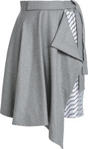 draped brushed wool and striped twill skirt