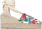 lace up printed canvas platform wedge espadrilles