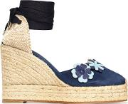 woven and floral appliqued suede wedge espadrilles