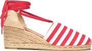 woven and striped canvas wedge espadrilles
