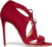 Hakan Cutout Suede Sandals Red