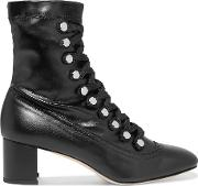 Malika Studded Lace Up Leather Ankle Boots Black