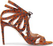 Snake Effect Leather And Chenille Sandals Brown