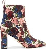 Tess Floral Print Leather Ankle Boots Claret