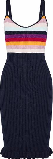 marguerite striped ribbed knit dress
