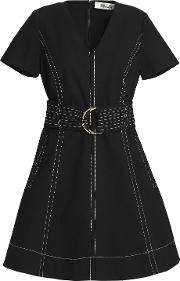 belted stretch cotton mini dress