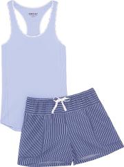 Cotton Blend Jersey And Striped Voile Pajama Set Navy