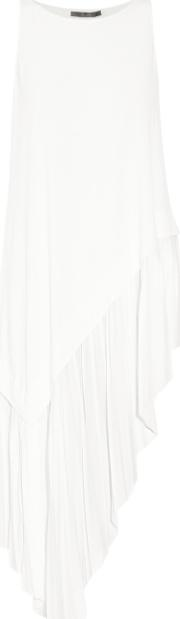 Asymmetric Pleated Jersey Tunic Ivory