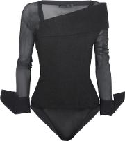 Stretch Mesh And Brushed Wool Blend Bodysuit Black