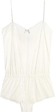 Eberjey Woman In The Clouds Lace-trimmed Textured-jersey Playsuit White Size L Eberjey