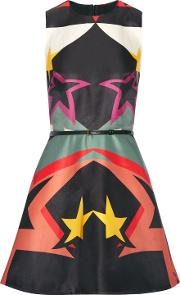 belted flared printed crepe satin mini dress