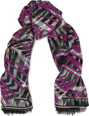 frayed printed wool, silk and cashmere blend scarf
