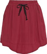 Brick Voile Mini Skirt Claret