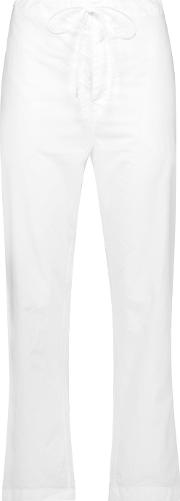 Duson Cotton Broadcloth Straight Leg Pants White
