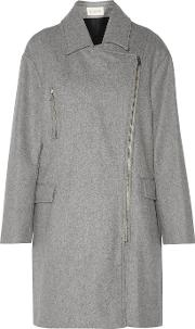 Elsa Wool Blend Felt Coat Gray