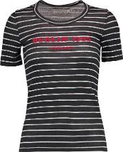 Klement Flocked Striped Linen T Shirt Charcoal