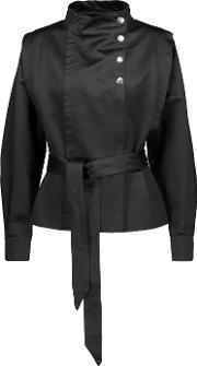 Mindy Belted Cotton Satin Jacket Black