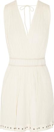 Tiara Plisse Cotton Muslin Mini Dress Cream