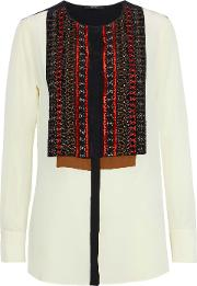 appliqued washed silk blouse