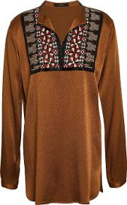 bead embellished embroidered satin crepe blouse