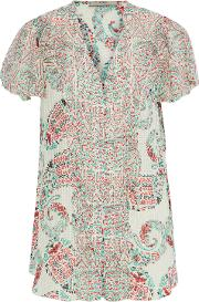 ruffle trimmed printed burnout silk georgette blouse