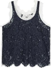 Corded Lace Cotton Blend Top Midnight Blue