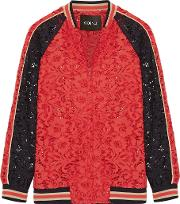 Cotton Blend Corded Lace Bomber Jacket Red