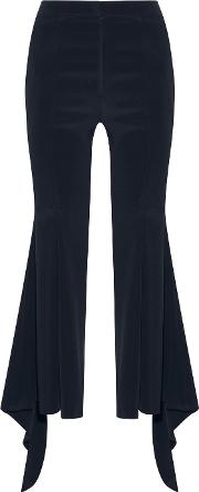Cropped Stretch Silk Blend Cady Flared Pants Midnight Blue