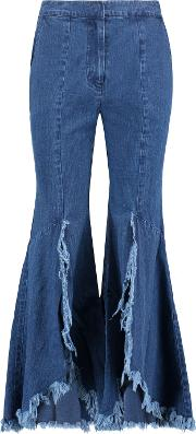 Distressed Frayed High Rise Flared Jeans Mid Denim