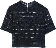 Open Knit Cotton Sequinned Top Midnight Blue