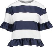 Ruffle Trimmed Striped Canvas Top Navy